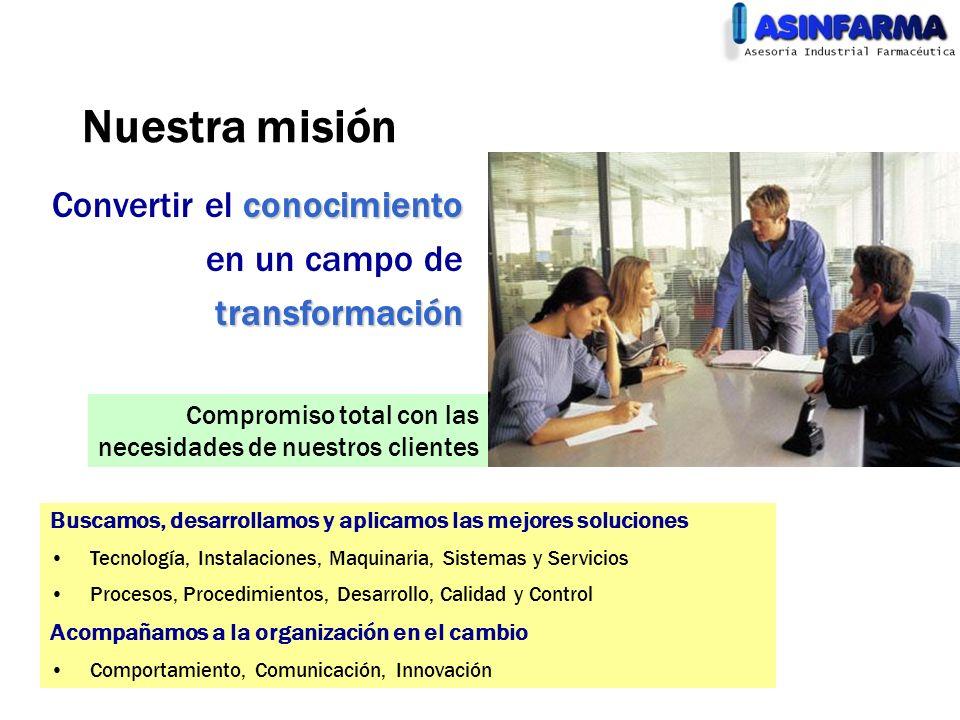 Nuestra misión conocimiento Convertir el conocimiento en un campo detransformación Compromiso total con las necesidades de nuestros clientes Buscamos,