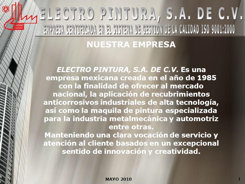 NUESTRA EMPRESA ELECTRO PINTURA, S.A. DE C.V. Es una empresa mexicana creada en el año de 1985 con la finalidad de ofrecer al mercado nacional, la apl