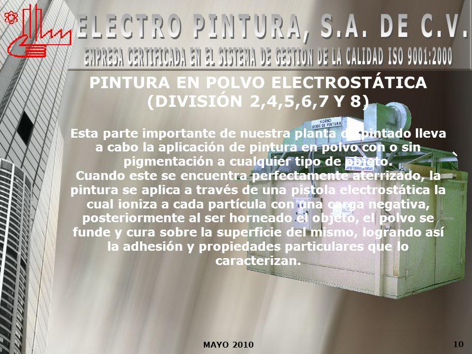 10 PINTURA EN POLVO ELECTROSTÁTICA (DIVISIÓN 2,4,5,6,7 Y 8) Esta parte importante de nuestra planta de pintado lleva a cabo la aplicación de pintura e