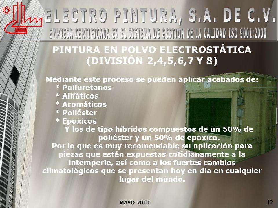 MAYO 2010 12 PINTURA EN POLVO ELECTROSTÁTICA (DIVISIÓN 2,4,5,6,7 Y 8) Mediante este proceso se pueden aplicar acabados de: * Poliuretanos * Alifáticos