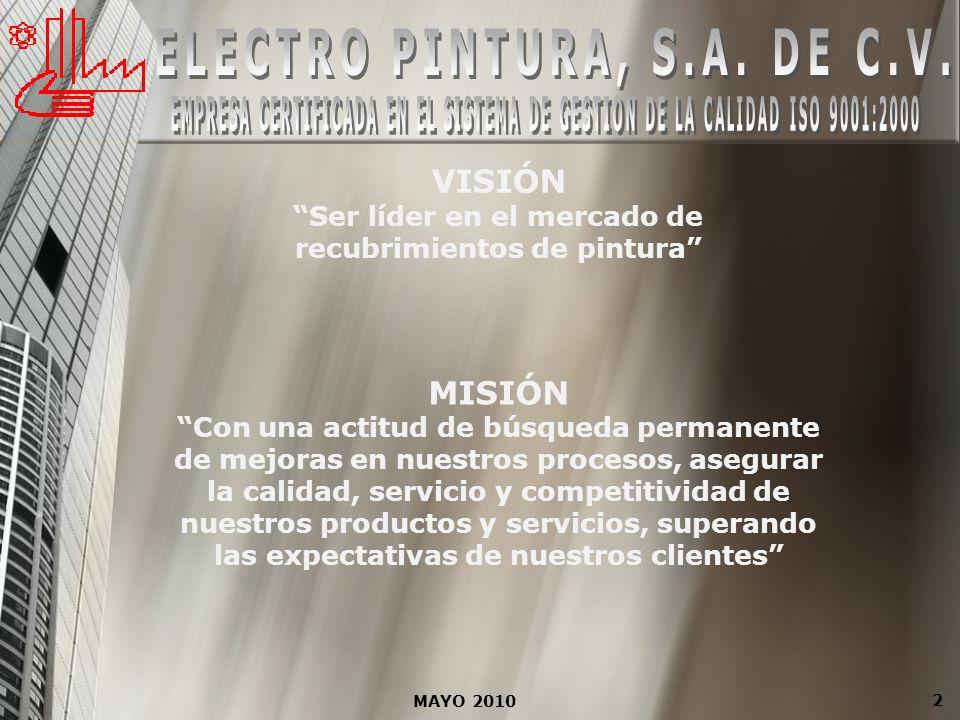 MAYO 2010 13 INFRAESTRUCTURA ELECTRO PINTURA, S.A.