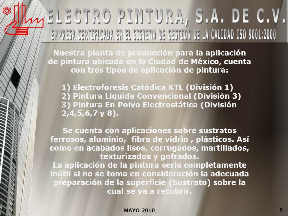 5 Nuestra planta de producción para la aplicación de pintura ubicada en la Ciudad de México, cuenta con tres tipos de aplicación de pintura: 1) Electr