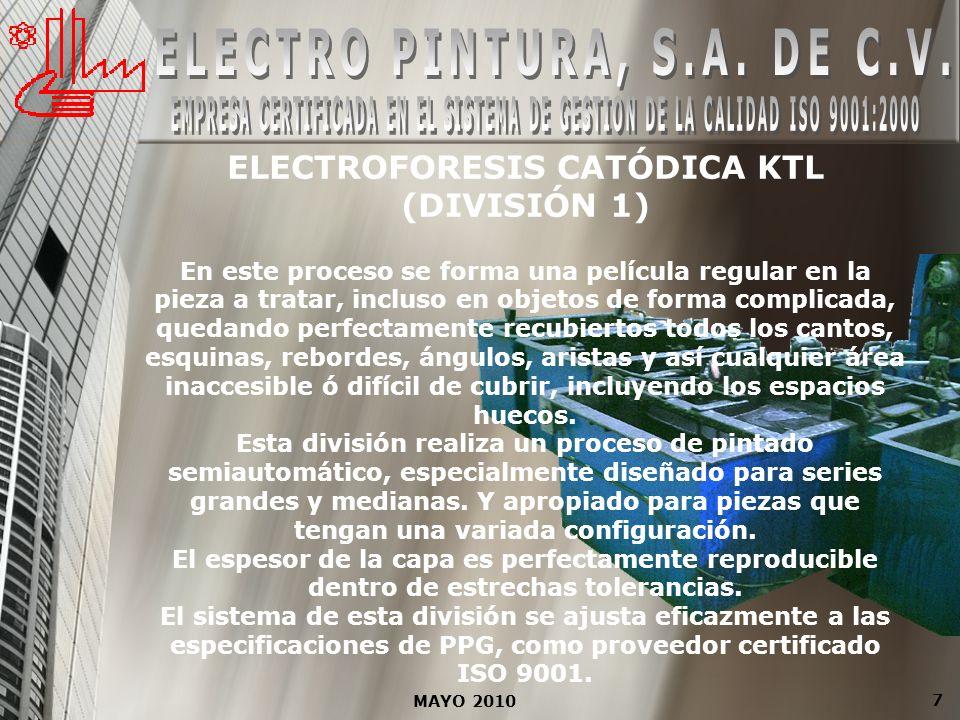 MAYO 2010 7 ELECTROFORESIS CATÓDICA KTL (DIVISIÓN 1) En este proceso se forma una película regular en la pieza a tratar, incluso en objetos de forma c