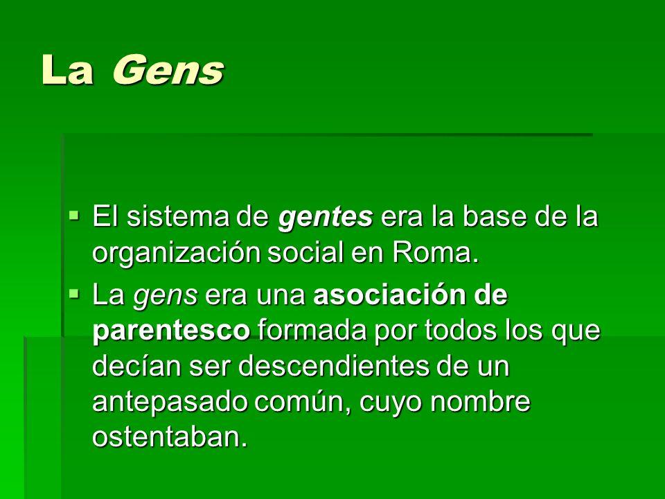 La Gens El sistema de gentes era la base de la organización social en Roma. El sistema de gentes era la base de la organización social en Roma. La gen