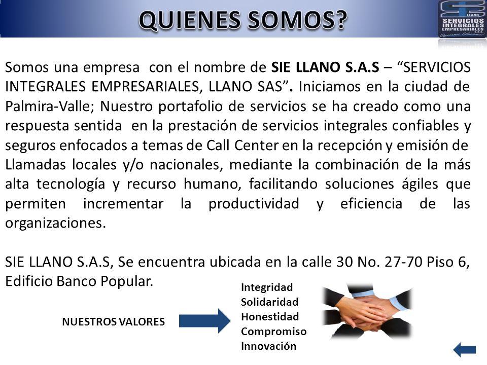 Somos una empresa con el nombre de SIE LLANO S.A.S – SERVICIOS INTEGRALES EMPRESARIALES, LLANO SAS. Iniciamos en la ciudad de Palmira-Valle; Nuestro p