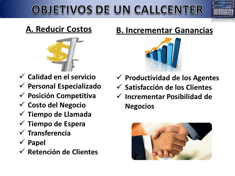 A. Reducir Costos Calidad en el servicio Personal Especializado Posición Competitiva Costo del Negocio Tiempo de Llamada Tiempo de Espera Transferenci