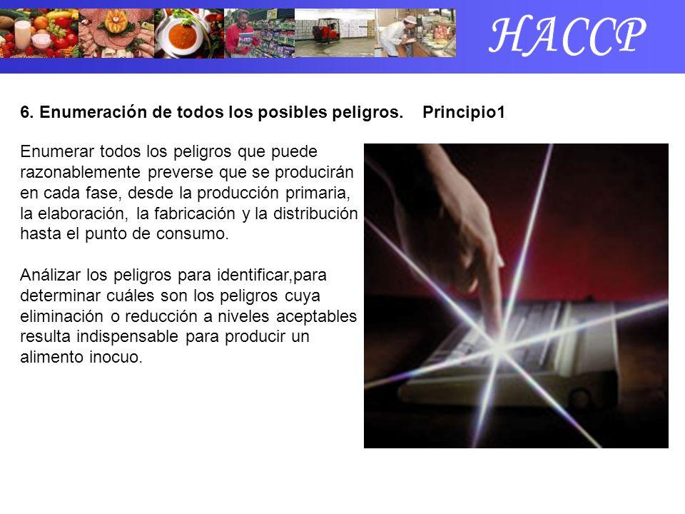 6. Enumeración de todos los posibles peligros. Principio1 Enumerar todos los peligros que puede razonablemente preverse que se producirán en cada fase