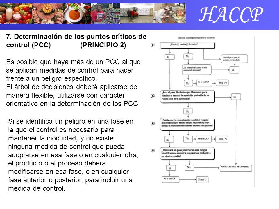 7. Determinación de los puntos críticos de control (PCC) (PRINCIPIO 2) Es posible que haya más de un PCC al que se aplican medidas de control para hac