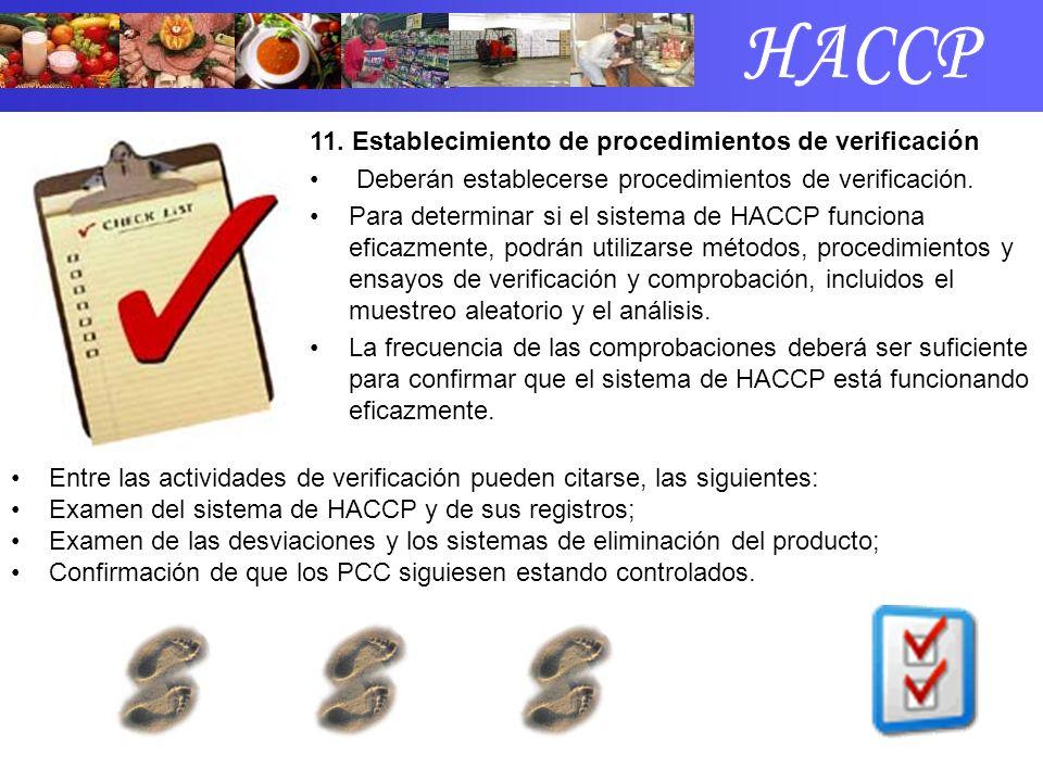 11. Establecimiento de procedimientos de verificación Deberán establecerse procedimientos de verificación. Para determinar si el sistema de HACCP func