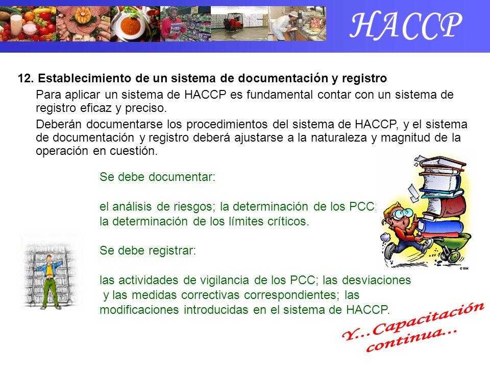 12. Establecimiento de un sistema de documentación y registro Para aplicar un sistema de HACCP es fundamental contar con un sistema de registro eficaz