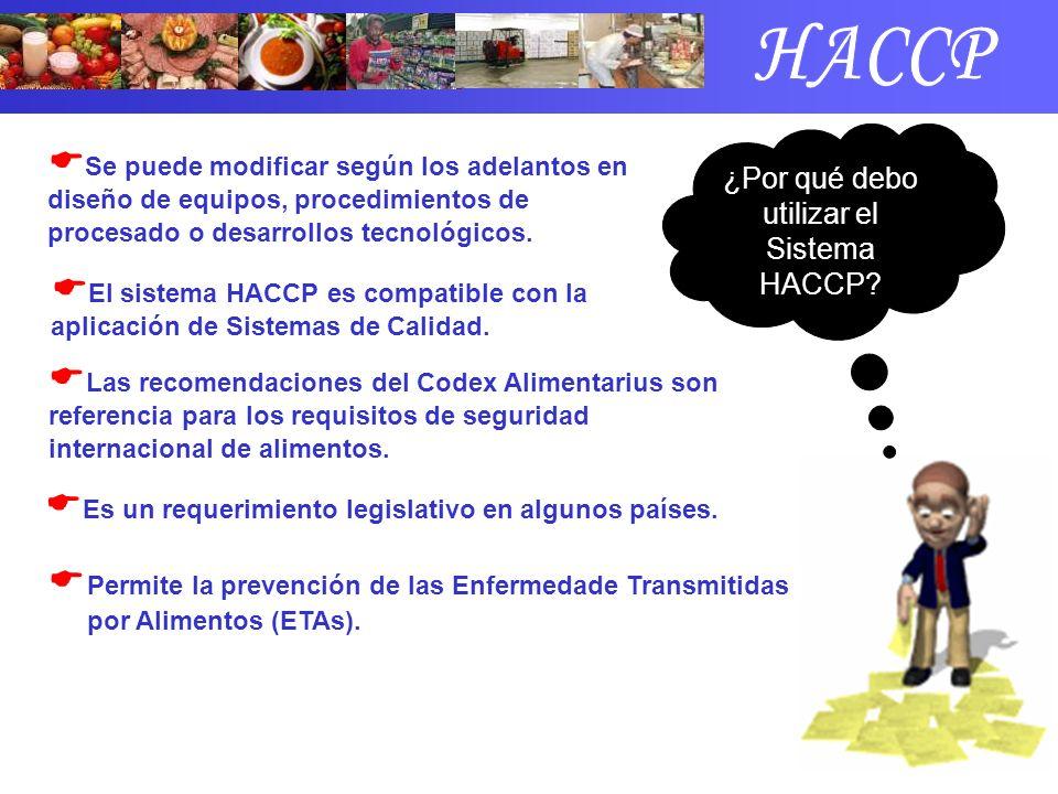 Permite la prevención de las Enfermedade Transmitidas por Alimentos (ETAs). ¿Por qué debo utilizar el Sistema HACCP? Se puede modificar según los adel