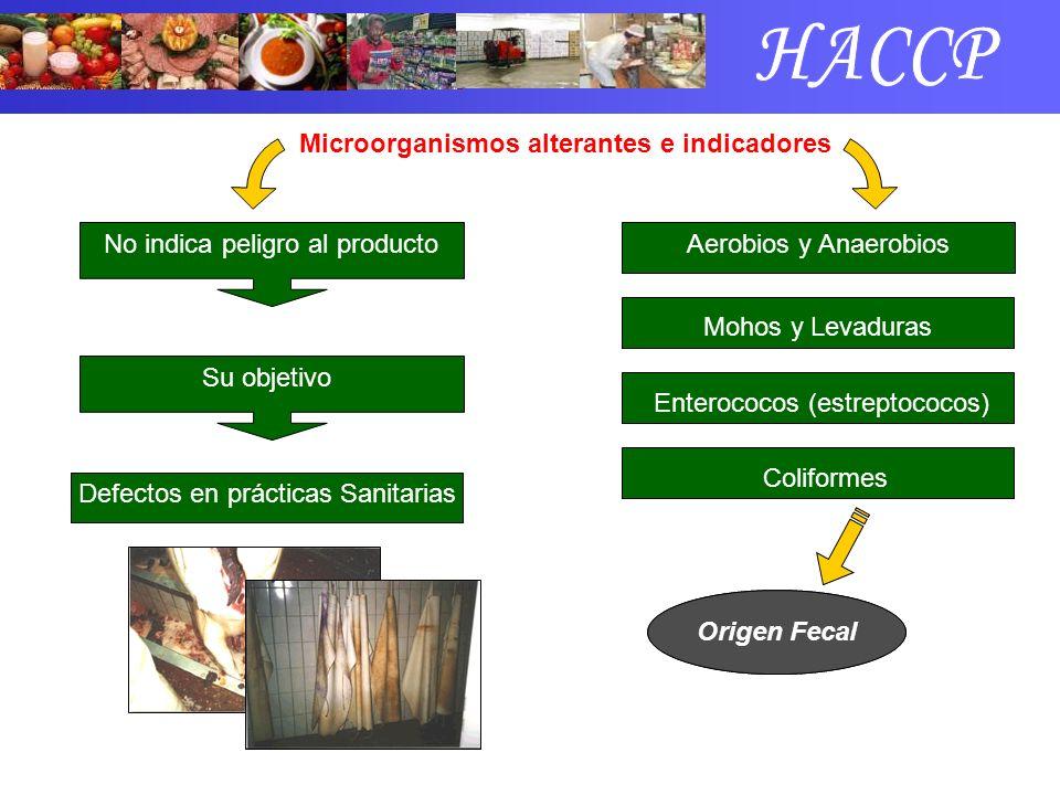 Microorganismos alterantes e indicadores No indica peligro al producto Su objetivo Defectos en prácticas Sanitarias Aerobios y Anaerobios Mohos y Leva