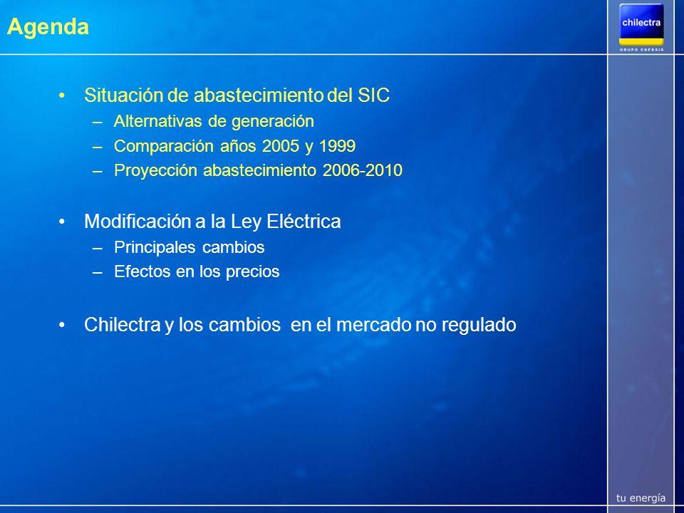 Situación de Abastecimiento del SIC Corto Plazo (2005-2007/8) –Oferta de energía muy ajustada a la demanda si coinciden factores exógenos (aumento de restricciones de gas argentino, baja hidrología) y endógenos (aumento demanda, fallas en generación y/o transmisión) Mediano Plazo (2008/9-2012) –Aumenta el equipamiento y la diversificación de la matriz energética Nueva Ley viabiliza centrales a GNL y/o Carbón Interconexión gasífera con Perú surtiría a generadoras y clientes del SING y posibilita intercambio con Argentina Nueva Ley introduce incentivos a la inversión en generación con fuentes renovables (eólica, geotermia, microcentrales)
