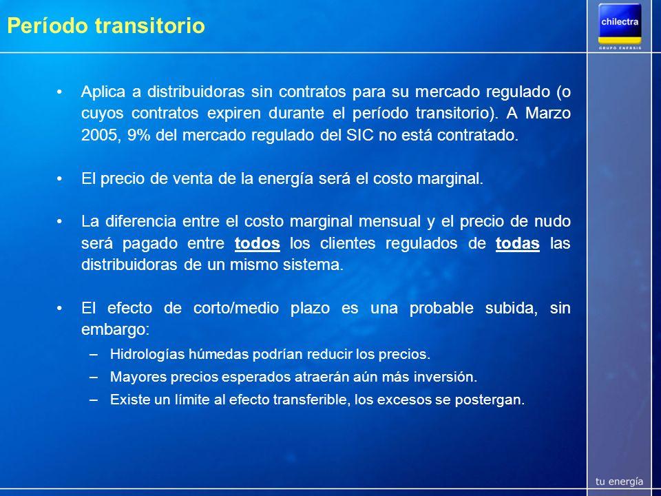 Tarifas competitivas con países poseedores/productores de energía primaria Las tarifas industriales de Chilectra se encuentran entre las más bajas de Latinoamérica Clientes libres SIC Abr05 = 41.6 US$/MWh Tarifas medias a clientes industriales en USD/MWh (2003) Fuente: CIER
