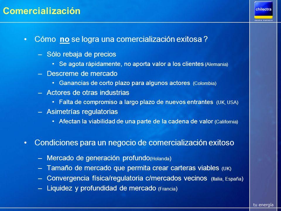 Ampliación del mercado no regulado en Chile Ley 19.940 (Ley Corta) –Art 8 Transitorio: desde marzo de 2006 se permite la ampliación del mercado libre incluyendo clientes con potencias conectadas superiores a 500 kW y menores a 2.000 kW.