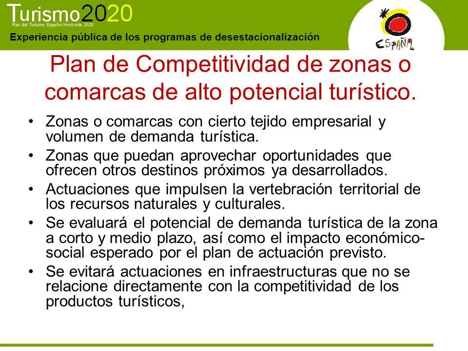 Experiencia pública de los programas de desestacionalización Plan de Competitividad de zonas o comarcas de alto potencial turístico. Zonas o comarcas