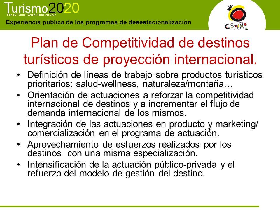 Experiencia pública de los programas de desestacionalización Plan de Competitividad de destinos turísticos de proyección internacional. Definición de