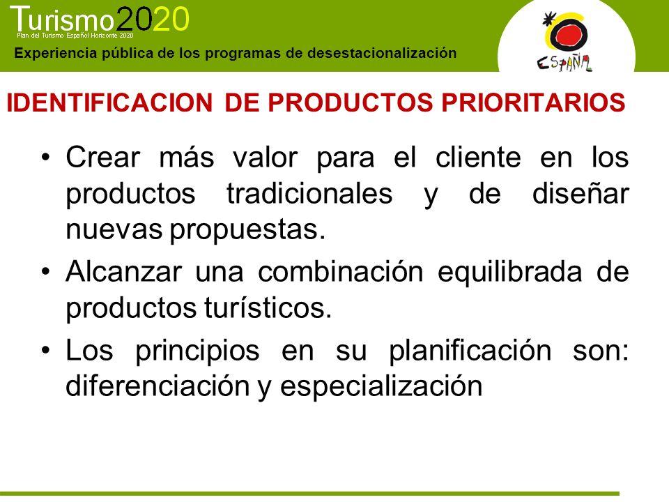Experiencia pública de los programas de desestacionalización IDENTIFICACION DE PRODUCTOS PRIORITARIOS Crear más valor para el cliente en los productos