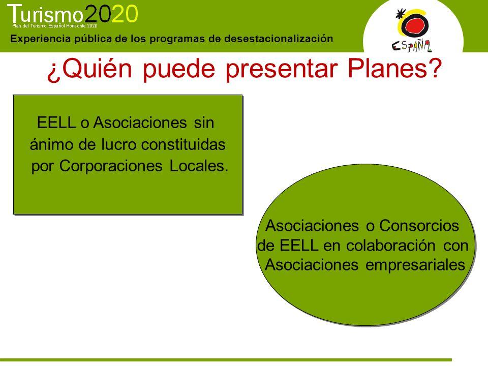 Experiencia pública de los programas de desestacionalización ¿Quién puede presentar Planes? EELL o Asociaciones sin ánimo de lucro constituidas por Co