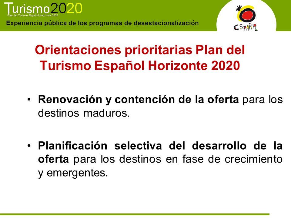 Experiencia pública de los programas de desestacionalización Orientaciones prioritarias Plan del Turismo Español Horizonte 2020 Renovación y contenció