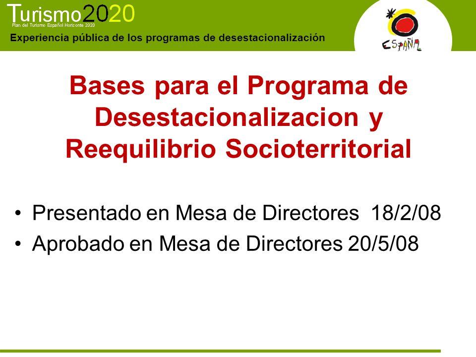 Experiencia pública de los programas de desestacionalización Bases para el Programa de Desestacionalizacion y Reequilibrio Socioterritorial Presentado