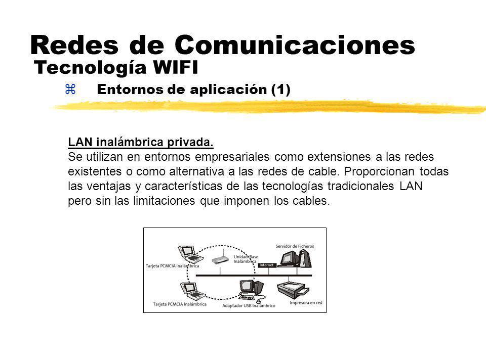 zEntornos de aplicación (1) Redes de Comunicaciones Tecnología WIFI LAN inalámbrica privada.