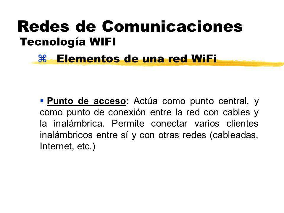 zElementos de una red WiFi Redes de Comunicaciones Tecnología WIFI Punto de acceso: Actúa como punto central, y como punto de conexión entre la red con cables y la inalámbrica.