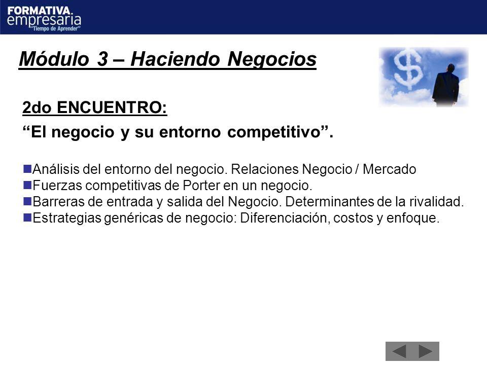 Módulo 3 – Haciendo Negocios 2do ENCUENTRO: El negocio y su entorno competitivo. Análisis del entorno del negocio. Relaciones Negocio / Mercado Fuerza
