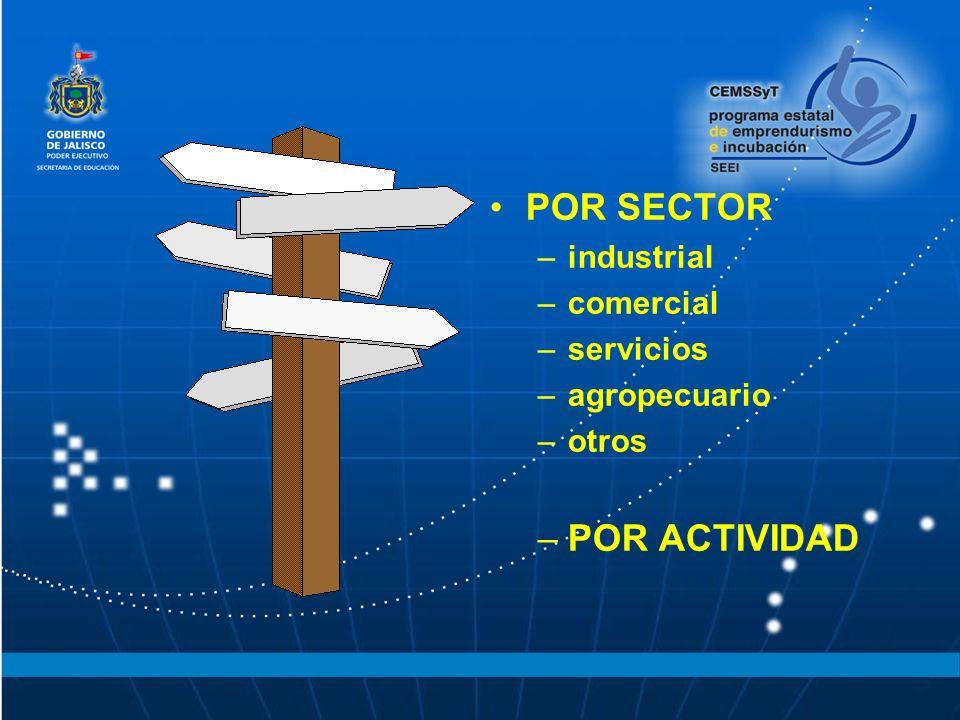 POR SECTOR –industrial –comercial –servicios –agropecuario –otros –POR ACTIVIDAD