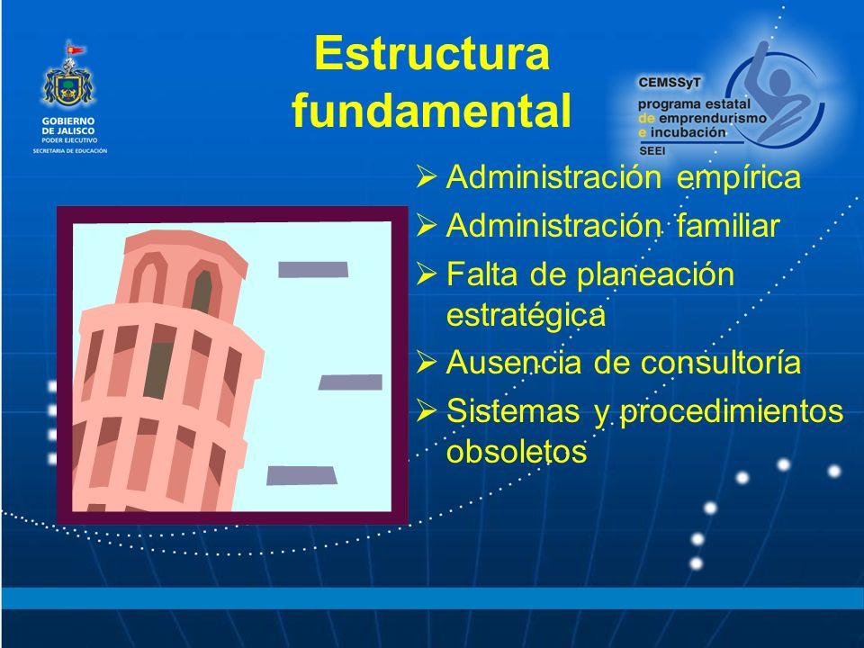 Estructura fundamental Administración empírica Administración familiar Falta de planeación estratégica Ausencia de consultoría Sistemas y procedimient