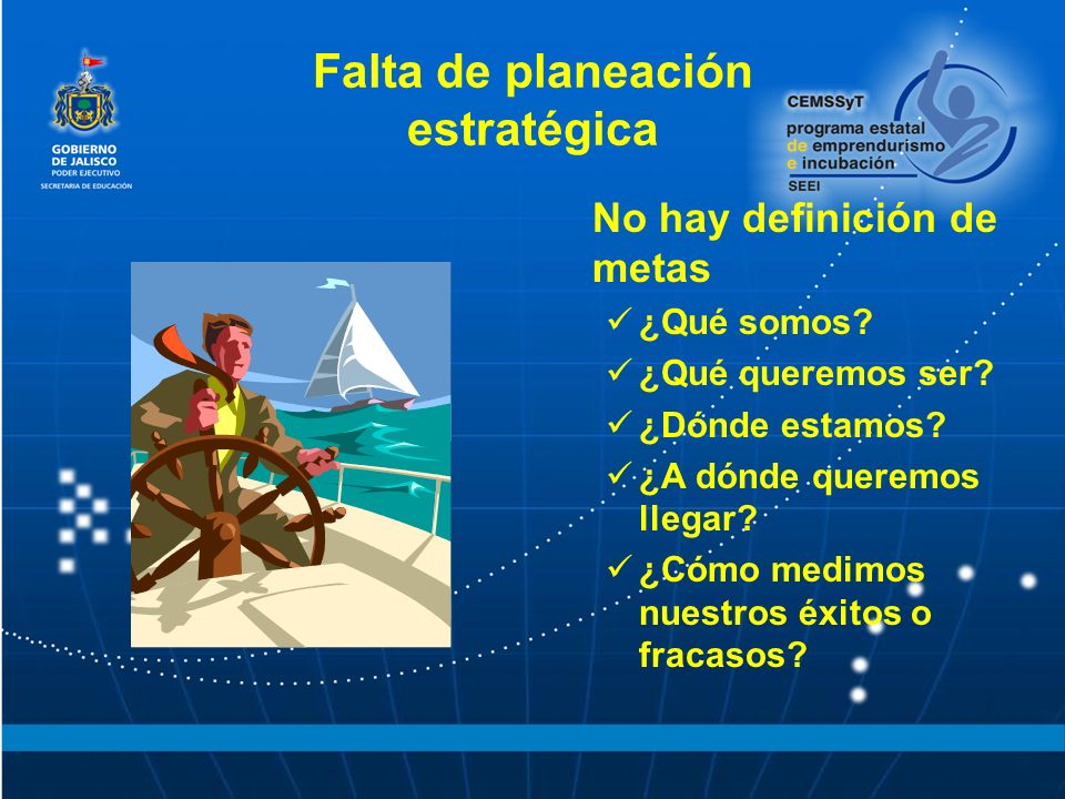 Falta de planeación estratégica No hay definición de metas ¿Qué somos? ¿Qué queremos ser? ¿Dónde estamos? ¿A dónde queremos llegar? ¿Cómo medimos nues