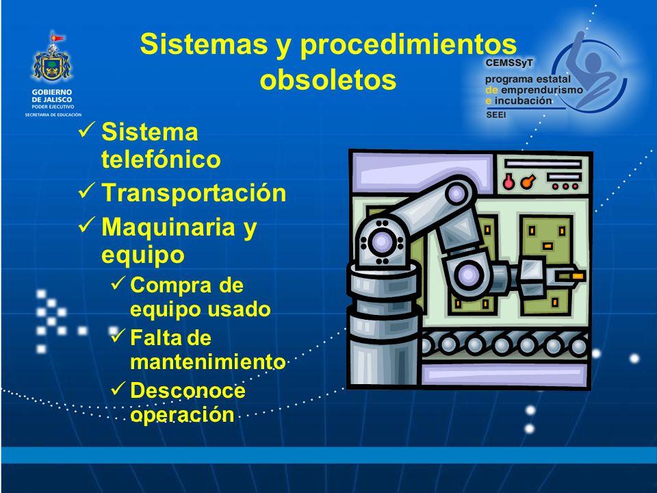 Sistemas y procedimientos obsoletos Sistema telefónico Transportación Maquinaria y equipo Compra de equipo usado Falta de mantenimiento Desconoce operación