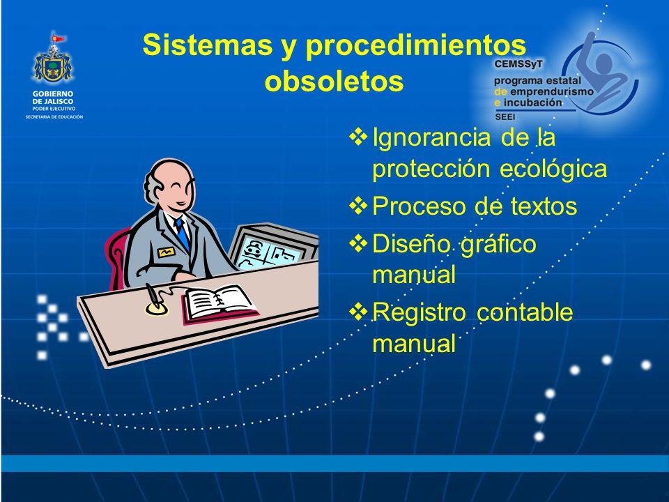 Sistemas y procedimientos obsoletos Ignorancia de la protección ecológica Proceso de textos Diseño gráfico manual Registro contable manual