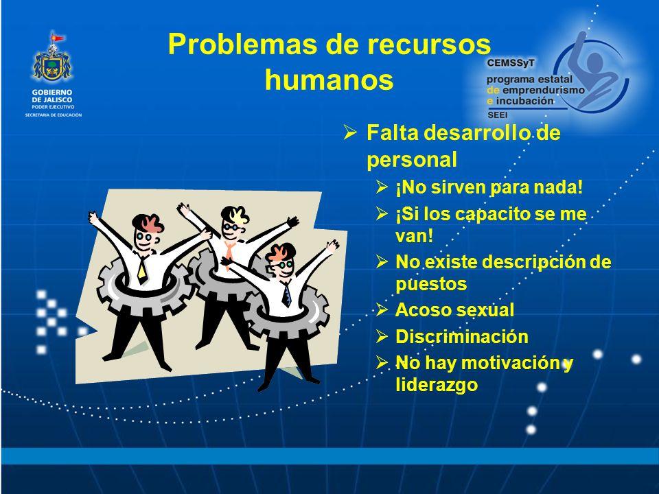 Problemas de recursos humanos Falta desarrollo de personal ¡No sirven para nada! ¡Si los capacito se me van! No existe descripción de puestos Acoso se