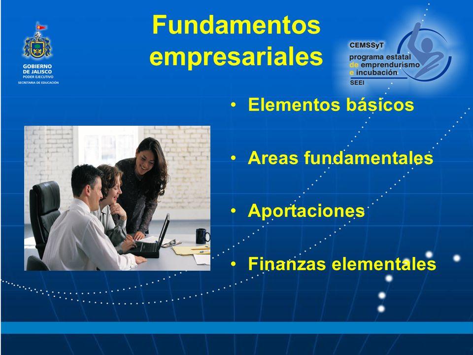 Fundamentos empresariales Elementos básicos Areas fundamentales Aportaciones Finanzas elementales