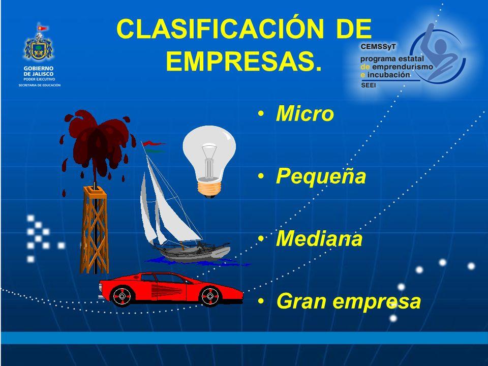 CLASIFICACIÓN DE EMPRESAS. Micro Pequeña Mediana Gran empresa