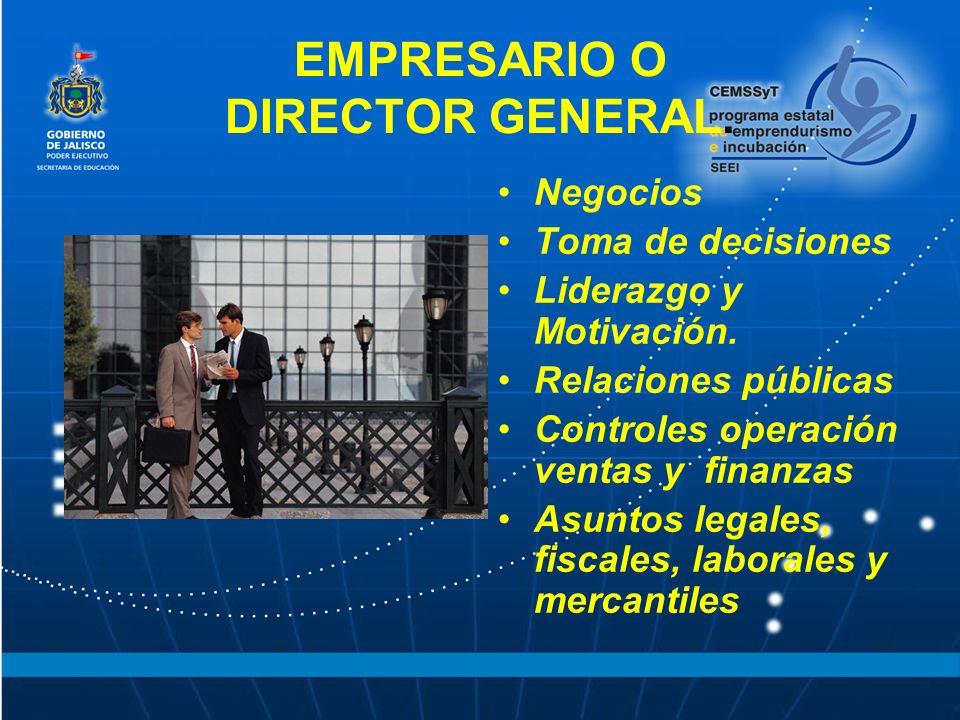 EMPRESARIO O DIRECTOR GENERAL. Negocios Toma de decisiones Liderazgo y Motivación. Relaciones públicas Controles operación ventas y finanzas Asuntos l