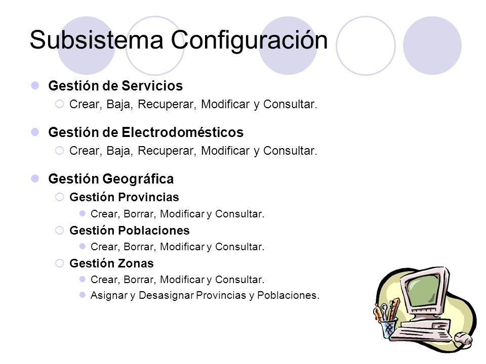 Gestión de Servicios Crear, Baja, Recuperar, Modificar y Consultar. Gestión de Electrodomésticos Crear, Baja, Recuperar, Modificar y Consultar. Gestió