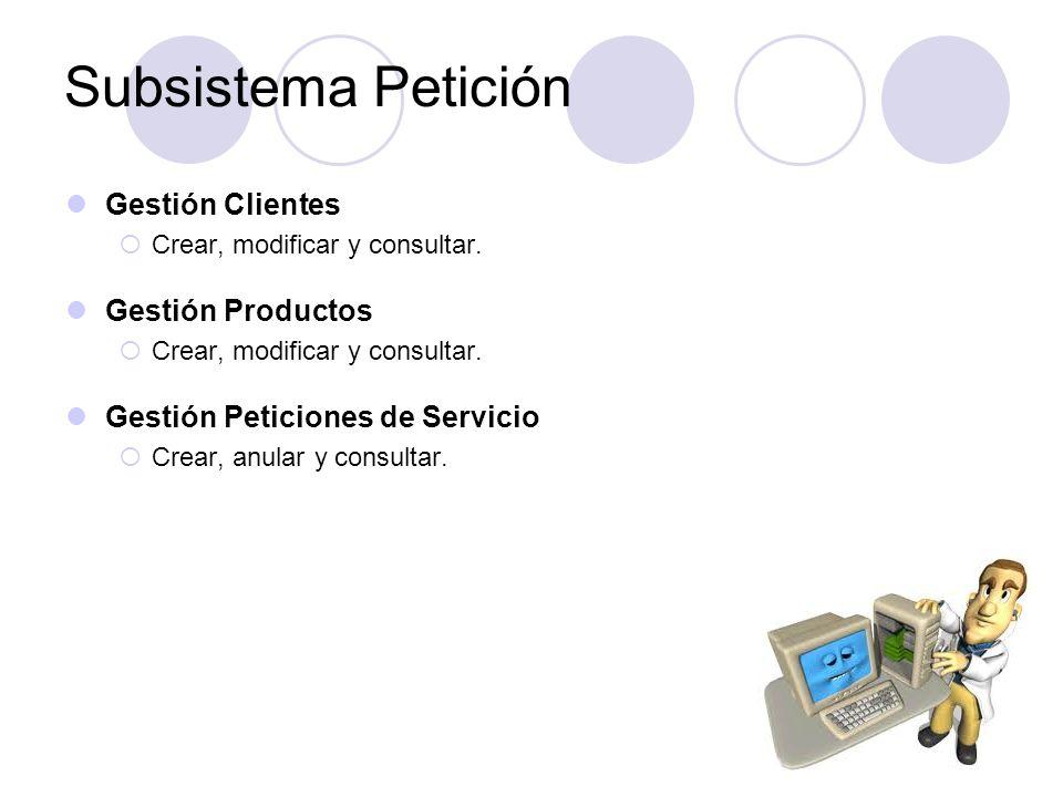 Gestión Clientes Crear, modificar y consultar. Gestión Productos Crear, modificar y consultar. Gestión Peticiones de Servicio Crear, anular y consulta