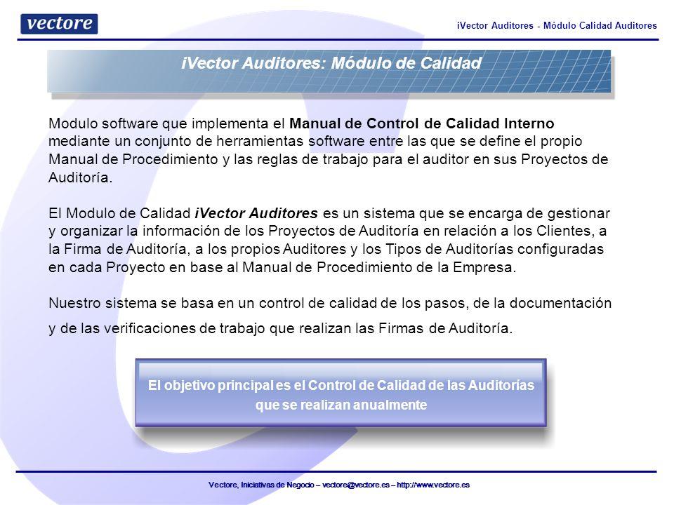 Vectore, Iniciativas de Negocio – vectore@vectore.es – http://www.vectore.es iVector Auditores - Módulo Calidad Auditores Modulo software que implemen