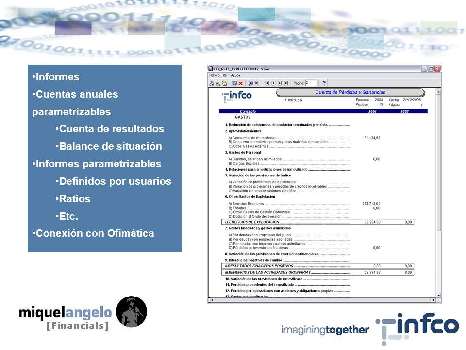 Informes Cuentas anuales parametrizables Cuenta de resultados Balance de situación Informes parametrizables Definidos por usuarios Ratios Etc.