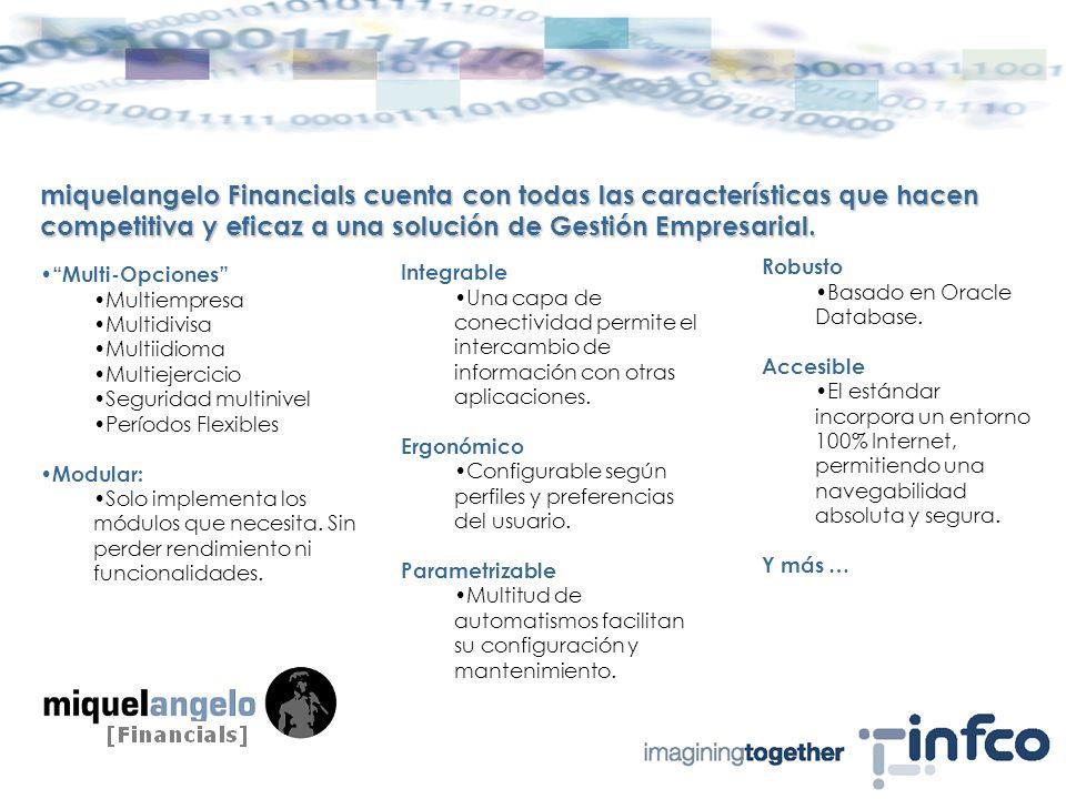 miquelangelo Financials cuenta con todas las características que hacen competitiva y eficaz a una solución de Gestión Empresarial.