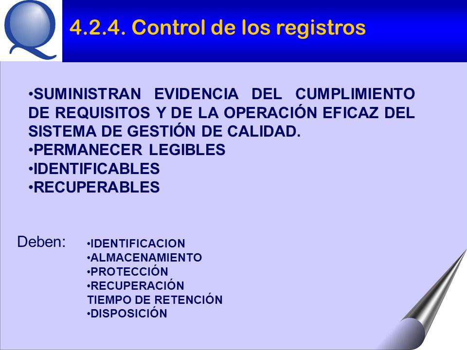 IDENTIFICACION ALMACENAMIENTO PROTECCIÓN RECUPERACIÓN TIEMPO DE RETENCIÓN DISPOSICIÓN SUMINISTRAN EVIDENCIA DEL CUMPLIMIENTO DE REQUISITOS Y DE LA OPERACIÓN EFICAZ DEL SISTEMA DE GESTIÓN DE CALIDAD.