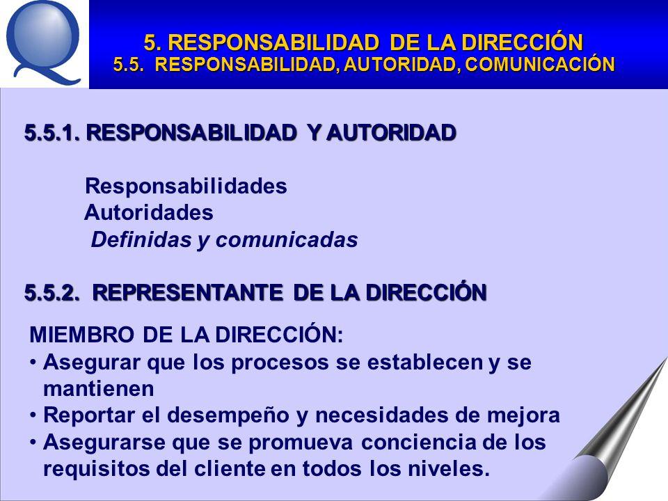 5.5.1.RESPONSABILIDAD Y AUTORIDAD Responsabilidades Autoridades Definidas y comunicadas 5.5.2.