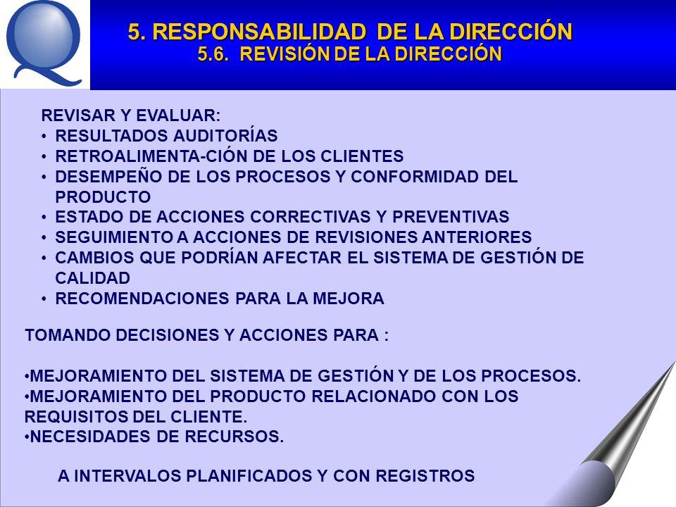 REVISAR Y EVALUAR: RESULTADOS AUDITORÍAS RETROALIMENTA-CIÓN DE LOS CLIENTES DESEMPEÑO DE LOS PROCESOS Y CONFORMIDAD DEL PRODUCTO ESTADO DE ACCIONES CORRECTIVAS Y PREVENTIVAS SEGUIMIENTO A ACCIONES DE REVISIONES ANTERIORES CAMBIOS QUE PODRÍAN AFECTAR EL SISTEMA DE GESTIÓN DE CALIDAD RECOMENDACIONES PARA LA MEJORA TOMANDO DECISIONES Y ACCIONES PARA : MEJORAMIENTO DEL SISTEMA DE GESTIÓN Y DE LOS PROCESOS.