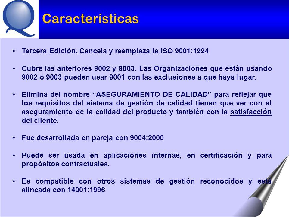 Tercera Edición.Cancela y reemplaza la ISO 9001:1994 Cubre las anteriores 9002 y 9003.