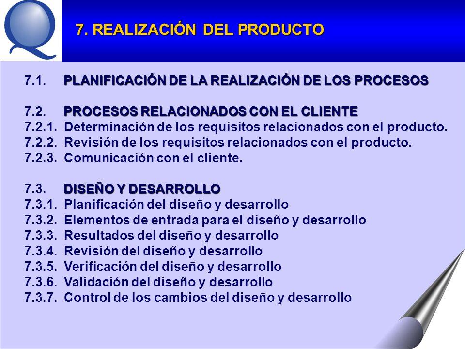 PLANIFICACIÓN DE LA REALIZACIÓN DE LOS PROCESOS 7.1.