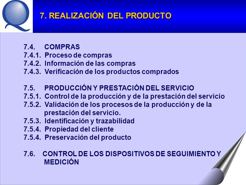 7.4.COMPRAS 7.4.1. Proceso de compras 7.4.2. Información de las compras 7.4.3.