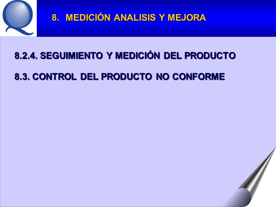 8.MEDICIÓN ANALISIS Y MEJORA 8.2.4.SEGUIMIENTO Y MEDICIÓN DEL PRODUCTO 8.3.