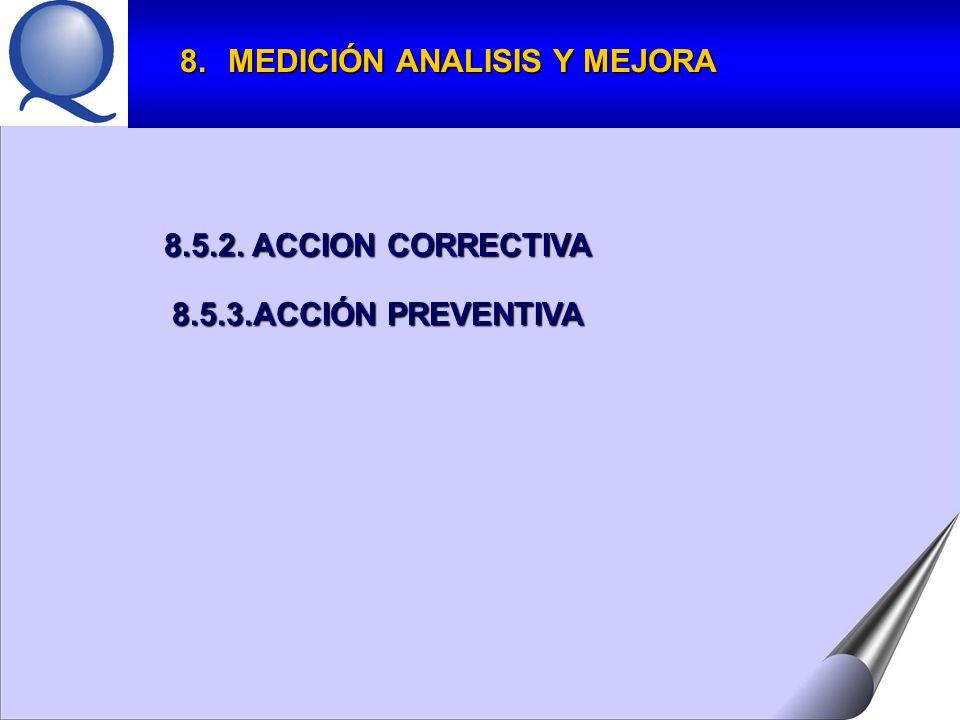 8.5.2. ACCION CORRECTIVA 8.5.3.ACCIÓN PREVENTIVA 8.MEDICIÓN ANALISIS Y MEJORA